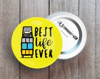 Pack of 3, 6, 12 Best Life Ever Button Pin, Badge - Yellow Cart - jw ministry - jw pioneer gifts - best life ever - jw org