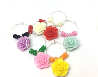 Rose Flower Colored  Wine Charms with Colored Beads x6