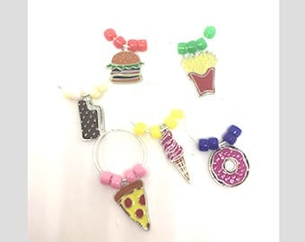 Junk Food SnackTheme Wine Charms with Colored Beads x6, Enamel Painted Charms, Gifts Under 10,
