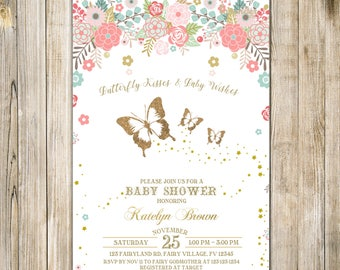 BUTTERFLY BABY SHOWER Invitation, Floral Gold Pink Baby Sprinkle Invite, Whimsical Butterflies Baby Girl Shower Invites, Floral Garden Party