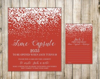 Red Silver First Birthday TIME CAPSULE, Time Capsule Sign & Card, Winter 1st Birthday Time Capsule, Snow Baby Time Capsule, Birthday Wishes