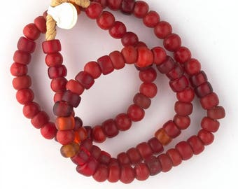 Strand of old red opaque and translucent Padre trade beads, Africa. b1-858cs(e)