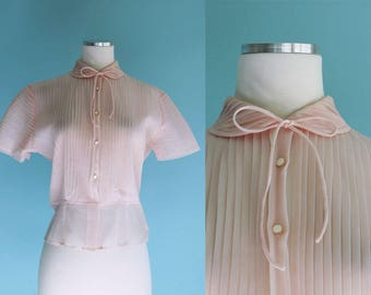 1950s 1960s Petal Pink Sheer Nylon Blouse // 50s 60s Pleated Top