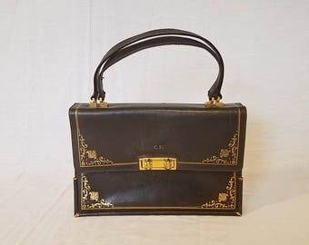 Vintage Charcoal Gray  and Gold Accordion Purse Top Handle Handbag