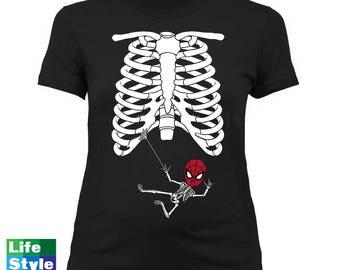 Halloween Skeleton Shirt, Maternity Skeleton T-shirt (Spiderman) Skeleton Baby Shirts, Pregnancy Halloween, Maternity Costume Tee CT-1318