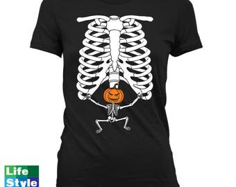 Halloween Skeleton Shirt Maternity Announcement T-shirt (Pumpkin Head) Pregnant Skeleton Baby Shirts Pregnancy Halloween Costume Tee CT-1323
