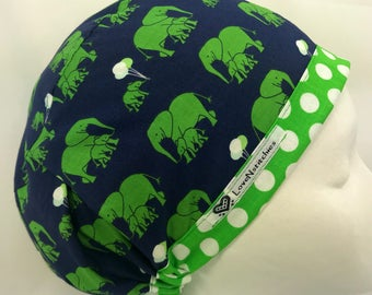 Elephants Navy Blue Scrub Hats for Women Euro European Style Medical Surgery OR Surgical Cap OR Tech Nurse LoveNstitchies Green
