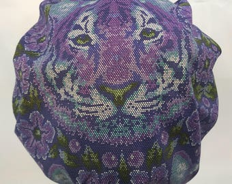 Tiger Surgical Cap Bouffant Scrub Hats for Women OR Nurse Tech Surgery Purple LoveNstitchies CRNA Anesthesia Tula Pink Big Cat Big Kitty