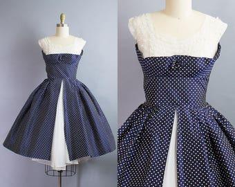 1950s Polka Dot Taffeta Party Dress/ Small (36B/26W)