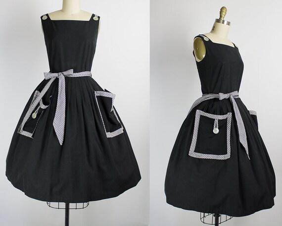 1950s Black and White Sundress   Medium (36B/28W)