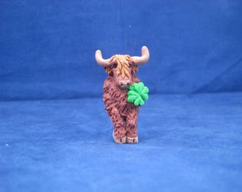 One of a Kind Highland Coo / Highland Cow / Lucky Cow Brooch, Magnet or flat back for crafting