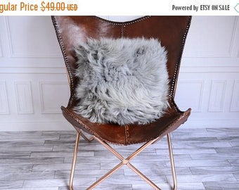 on sale grey icelandic sheepskin pillow gray pillow gray fur pillow