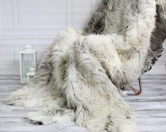 Rare Organic Sheepskin Throw | Gray Beige Throw | Gray Sheepskin Rug | Sexto Sheepskin Rug | 200 x 160 sheepskin