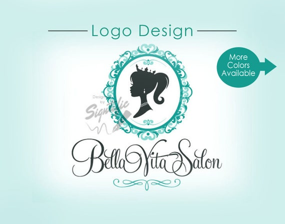 Custom Logo, Hair Salon Logo, Vintage Logo, Silhouette Logo, Decorative Frame Logo, Princess Logo, Crown Woman Silhouette Hair Logo Design