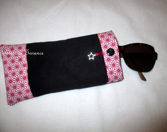 Suede eyeglass or Sunglass case and cotton saki fuchsia - in stock