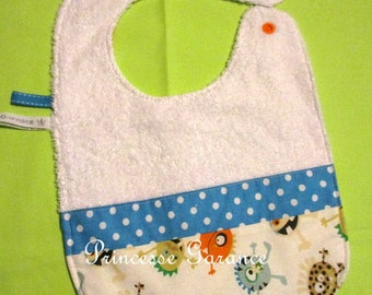 Lined with Terry cloth and cotton small Monster bib
