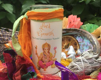 GANESH jar candle, Lord Ganesha, for success and removing obstacles, intellect and wisdom, new beginnings, elephant headed Hindu God,