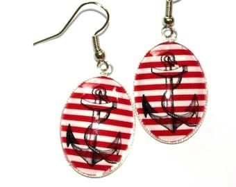 oval earrings anchor rockabilly