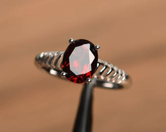 natural red garnet ring promise ring January birthstone oval cut red gemstone sterling silver prong setting