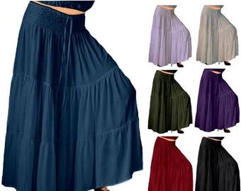 15% OFF SKIRTS/SALE G931 Flattering Maxi Length Tiered Skirt Elastic Waist Ties Casual Crinkle Rayon Made To Order Choose Your Colors s m l