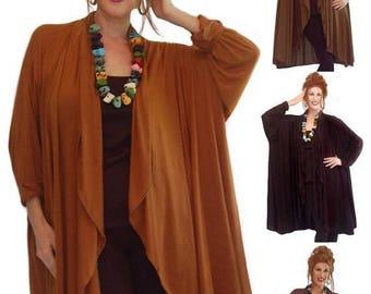 15% OFF SALE K648 Jacket Long Sleeve Cascade Ruffle Elegant Stretch Rayon Jersey Misses Plus Made To Order s m l xl 1x 2x 3x 4x 5x 6x Womens