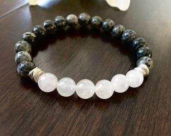Rose Quartz Gray Spiderweb Jasper Bracelet, Healing Crystals, Calming Bracelets, Gifts for Her, Wellness Bracelets, Birthday Gift Ideas