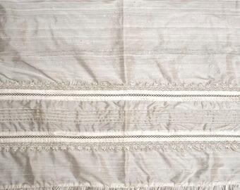 Baptism Blanket B009 | Christening Blanket White or Ivory | Handmade 100% Silk | HandMade Christening Gift