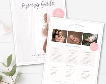 Photography Price List Template, Photographer Pricing Guide, Photo Sell Sheet, Photoshop Template, INSTANT DOWNLOAD!