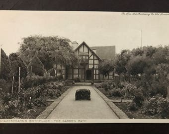 Vintage postcard - Shakespeare's Birthplace - Garden Path, 1920s!