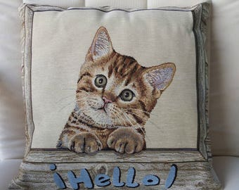 Handmade Hello Cat Tapestry Cushion Cover - Free Shipping