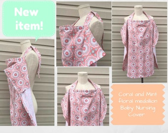 Coral and Mint floral medallion Baby Large Nursing Cover/Baby Shower Gift