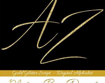 GOLD GLITTER alphabet, brush script alpha clipart, gold glitter letters, gold glitter numbers, printable alphabet pdf, instant download