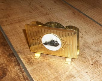 KENTUCKY  House Blessing  Napkin or Letter Holder  Gold Plated Metal for Housewarming Party