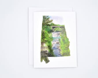 Alabama greeting cards - watercolor notecard set - state outline notecards - Alabama state pride - home state art - Alabama landscape