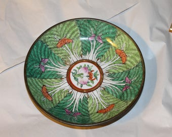 Gorgeous Bowl, Japanese Porcelain, Hand Decorated in Hong Kong, It is Asian Butterflies I think or Flowers,  Main colors are Green Shades