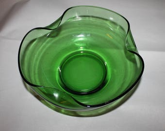 Vintage Green Bowl, Wavy Edging, Three Sided, Clear Green, Nice Size, Centerpiece for the Holidays, Tall, Three Waves on the Bowl