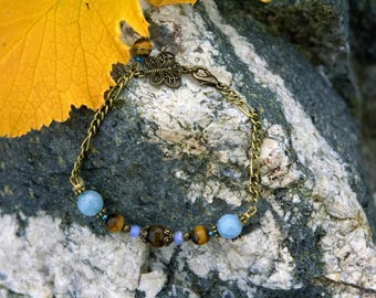 Bracelet chain and stone: Blue Amazonite, Brown Agate and Tiger's eye.