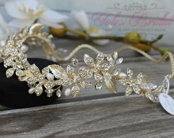 FAST SHIPPING!! Gold Swarovski Bridal Halo, Bridal Wreath, Bridal Hair Comb, Swarovski  Hair Comb, Crystal Hair Comb, Swarovski Hairband