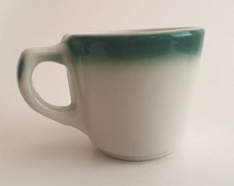 Vintage Buffalo China Mug Cup Green Airbrush Diner Restaurant Ware