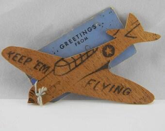 Vintage Keep 'em Flying WWII balsa wood plane Fargo ND