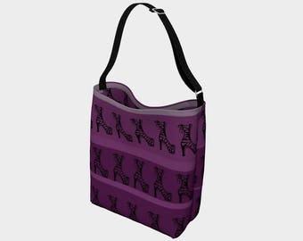 Purple tote bag, shoe design, gift for shoe lovers, market bag, stylish bag, gym bag, purse, striped bag by Felicianation Ink