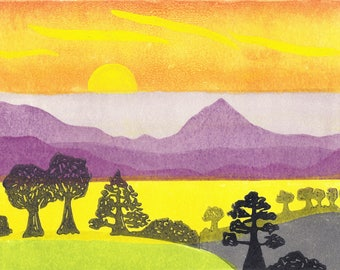 Sunrise landscape, Reduction lino cut,  grey, yellow and purple original art print by Kirstie Dedman