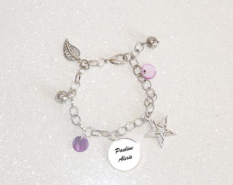 Link and silver personalized names with pearls and sequins