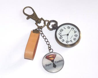 Watch FOB and hook leather message Super Dad/Grandpa/Uncle/Godfather keychain