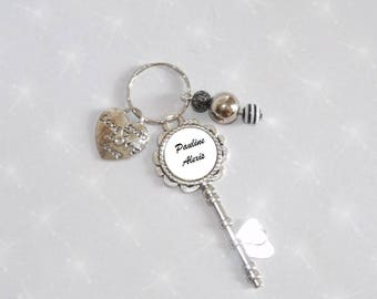 Personalized with names, beads and heart charm Keychain/bag charm