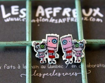 Earrings, playful characters, the creepy, Collaboration jewelry connector, studs, stainless steel, lovers