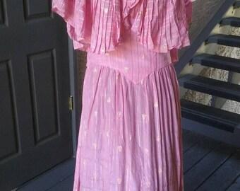 Stunning pink 1940s dress, matalic stripes
