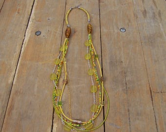 necklace, MULTISTRAND, yellow, seed beads and chains