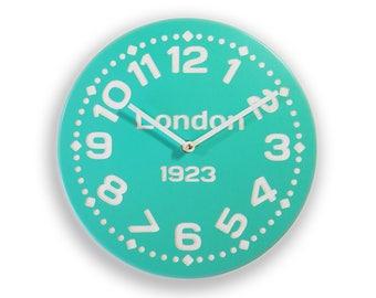 Wood wall clock. Colorful wall clock. Modern wall clock. Teal clock.  Personalized wall clock. 11 inch diameter wood wall clock. CL4020