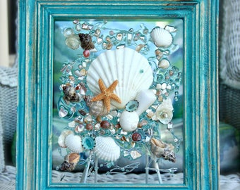 Beach Decor of Seashell Art, Beach Bathroom Decor Wall Hanging, Coastal Wall Art of Shells on Glass, Coastal Decor of Seashell Glass Art